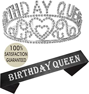 Birthday Girl Sash and Tiara Silver   Birthday Queen Sash and Crown   Happy Birthday Party Supplies  Favors, Decorations 13th, 16th, 21st, 30th, 40th, 50th, 60th, 70th, 80th, 90th Birthday Silver…