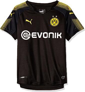 PUMA Borussia Dortmund FC 2017/18 Short Sleeve Away Jersey - Youth - Black/Yellow - Age