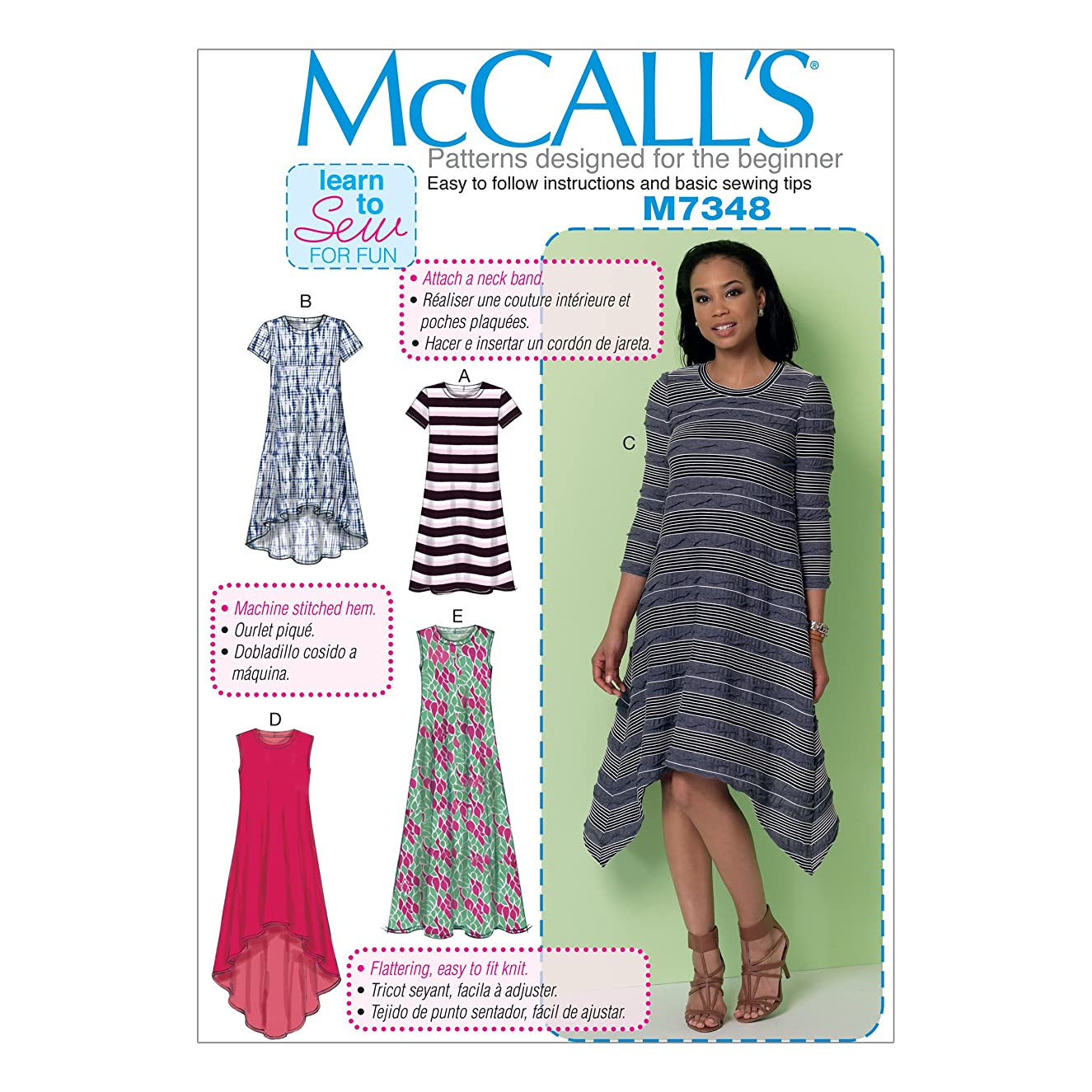 McCall's Patterns M7348 Misses' Straight, Handkerchief or High-Low Hem Dresses, ZZ (Large-X-Large-XX-Large)