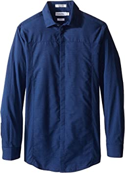 Long Sleeve Tick Dobby Stripe Pieced Shirt (Big Kids)