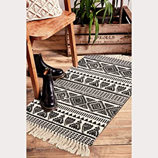 Seavish Cotton Printed Rug, 2'W x 3'L Decorative Black and White Tribal Kilim Small Area Rug Hand Woven Rug for Entryway Thin Throw Rugs with Non Slip Pad for Laundry Living Room Dorm