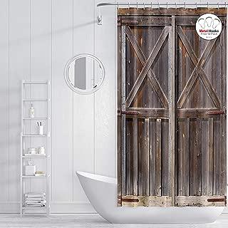 ZXMBF Rustic Shower Curtain Old Wooden Barn Door Metal Hooks 7 PCS Farmhouse Oak Countryside Village Board Rural Life Theme Bath Curtain Waterproof Fabric Bathroom Decor 36x72 Inch Brown