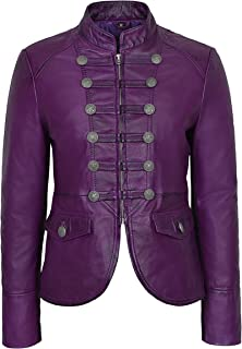 'Victory' Ladies Purple Military Parade Style Soft Real Napa Leather Jacket 8976