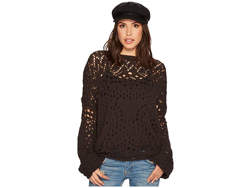 Free People Traveling Lace Sweater (Carbon) Women