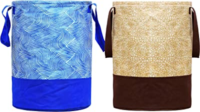 Heart Home Printed 2 Pieces Waterproof Canvas Laundry Bag,Toy Storage,Laundry Basket Organizer 45 L (Brown & Blue) (CTHH015754)