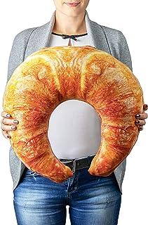 Froster Croissant - Almohada gigante con bolsa de calor de piedra cereza, almohada de cuello de viaje, cojín abrazable