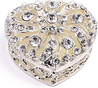 VI N VI Silver Rhinestone Heart Jewelry Box Trinket Box