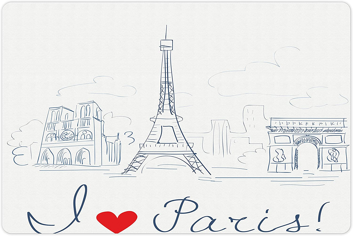 Lunarable Paris Pet Mat for Food and Water w of The 40% OFF Cheap Sale Sketch City New Shipping Free Shipping