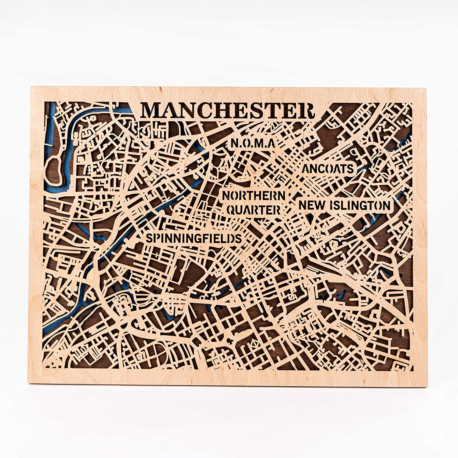 Manchester Wooden Map UK Wall Scale 爆買いセール Art Gift Birthday 発売モデル Small