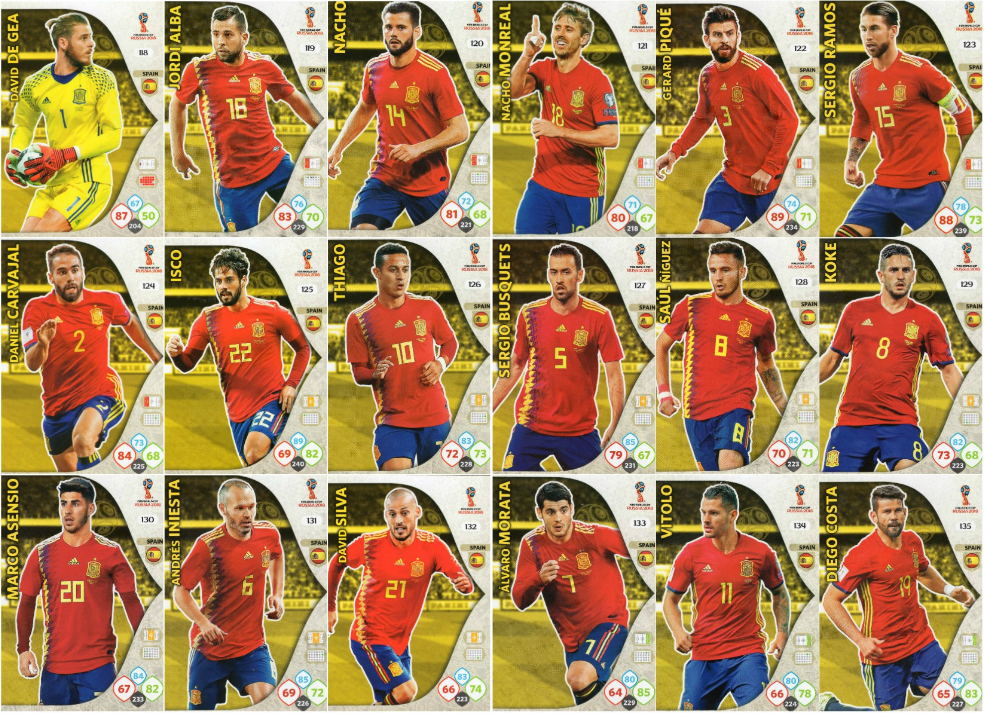 ADRENALYN XL Fifa Copa del mundo 2018- 18 cromos de la selección española.: Amazon.es: Deportes y aire libre