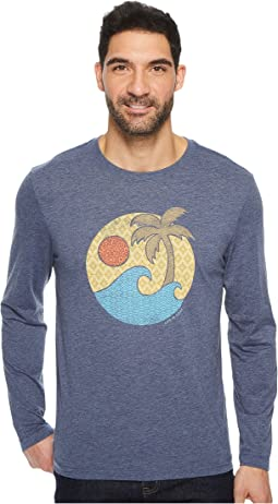 Life is Good Wave Palm Pattern Long Sleeve Cool Tee