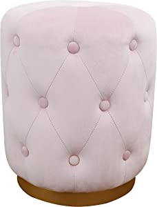 TOV Furniture The Skylar Collection Modern Velvet Upholstered Diamond Tufted Round Ottoman, Blush