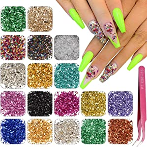 18 Colors Nail Stone Irregular Metallic Crushed Glass Chip Glitter Metallic Gravel Gem Stones with 1 Pieces Tweezers for Nail Arts Epoxy Resin Mold Jewelry Phone Case Making Filler Decoration Supplies