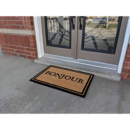 Amazon Com All Natural Coir Door Mats Gift 24 X 36 Inches Entrance Patio Deck Floor Door Indoor And Outdoor With Pvc Slip Free Rubber Back Bonjour Kitchen Dining
