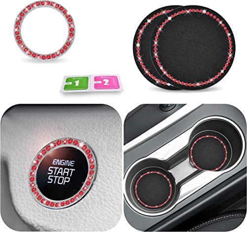 wholesale EcoNour high quality sale Car Cup Coasters 2 Pack | Rhinestone Push to Start | Car Coasters for Cup Holders | Bling Car Coasters | Start Button Car Accessories | Bling Car Accessories | Red Interior Car Accessories online