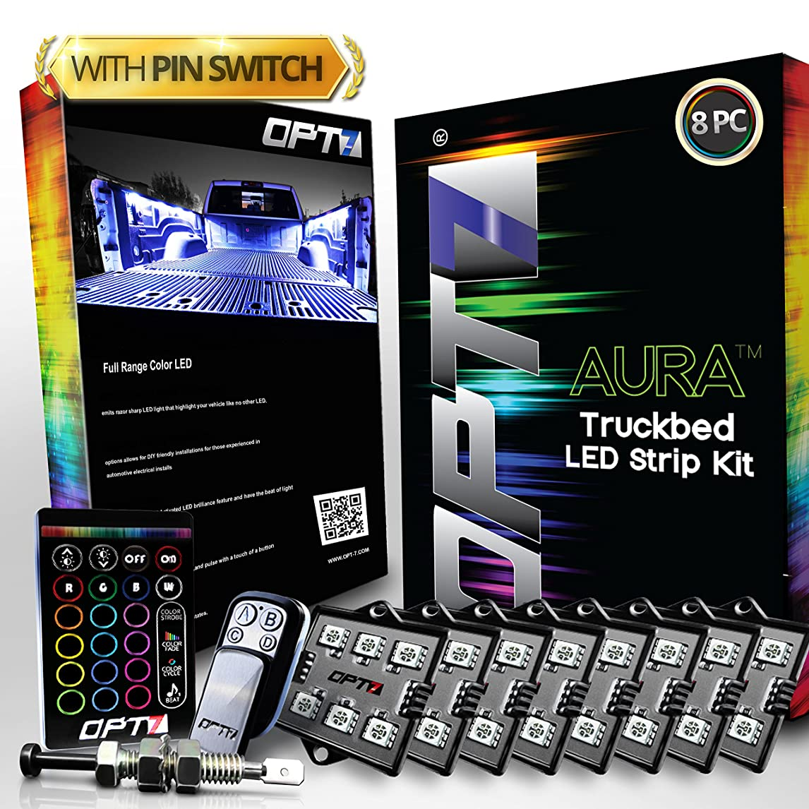 OPT7 Aura 8pc Truck Bed LED Lighting Kit - Sound Activated Multi-Color Lights - Wireless Remote - OE-Style Rocker Switch - w/AUTO-ON Tailgate Switch - 2 Yr Warranty ixpci96651924081