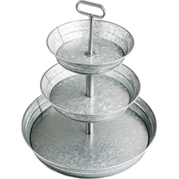 StarPack Farmhouse Style 3 Tiered Serving Tray - Rustic Kitchen Tiered Tray Decor, Cupcake Stand, Coffee Bar Accessories