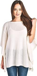 Women's 100% Cashmere Soft Wide Neck Wrap Poncho Sweater
