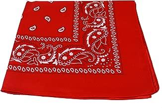 RED bandana scarf black white paisley on both sides