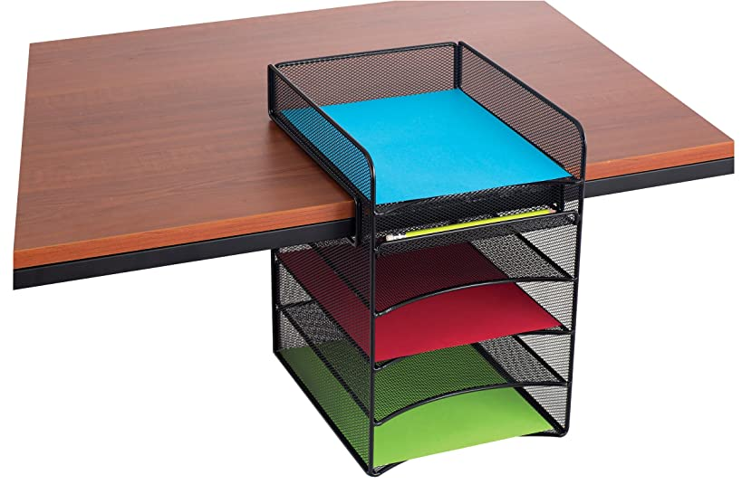 Safco Products Onyx Mesh 5-Tray Underdesk Hanging Organizer 3240BL, Black Powder Coat Finish, Durable Steel Mesh Construction