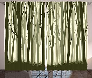 Ambesonne Forest Curtains, Mother Nature Theme Illustration of Mystical Forest with Trees Print, Living Room Bedroom Window Drapes 2 Panel Set, 108