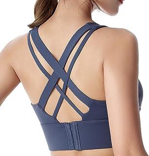 Silkarea Strappy Sport Bra for Women Sexy Crisscross Back Medium-High Impact Crossback Bra Padded for Yoga Bra Pilate