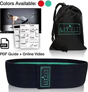 LIT FIT Loop Resistance Band for Legs and Butt with Online Workout Video, E-Guide & Carry Bag - Premium Heavy Duty Hip Band Circle - Non Slip Design - Peach Booty Band for Home or Gym