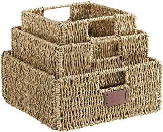 VonHaus Set of 3 Square Seagrass Storage Baskets with Insert Handles Ideal for Bathroom and Home Organization ,Brown ,Set of 3 Seagrass