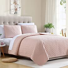 Ellison Ardmore Solid Lattice Quilt Set, King, Blush