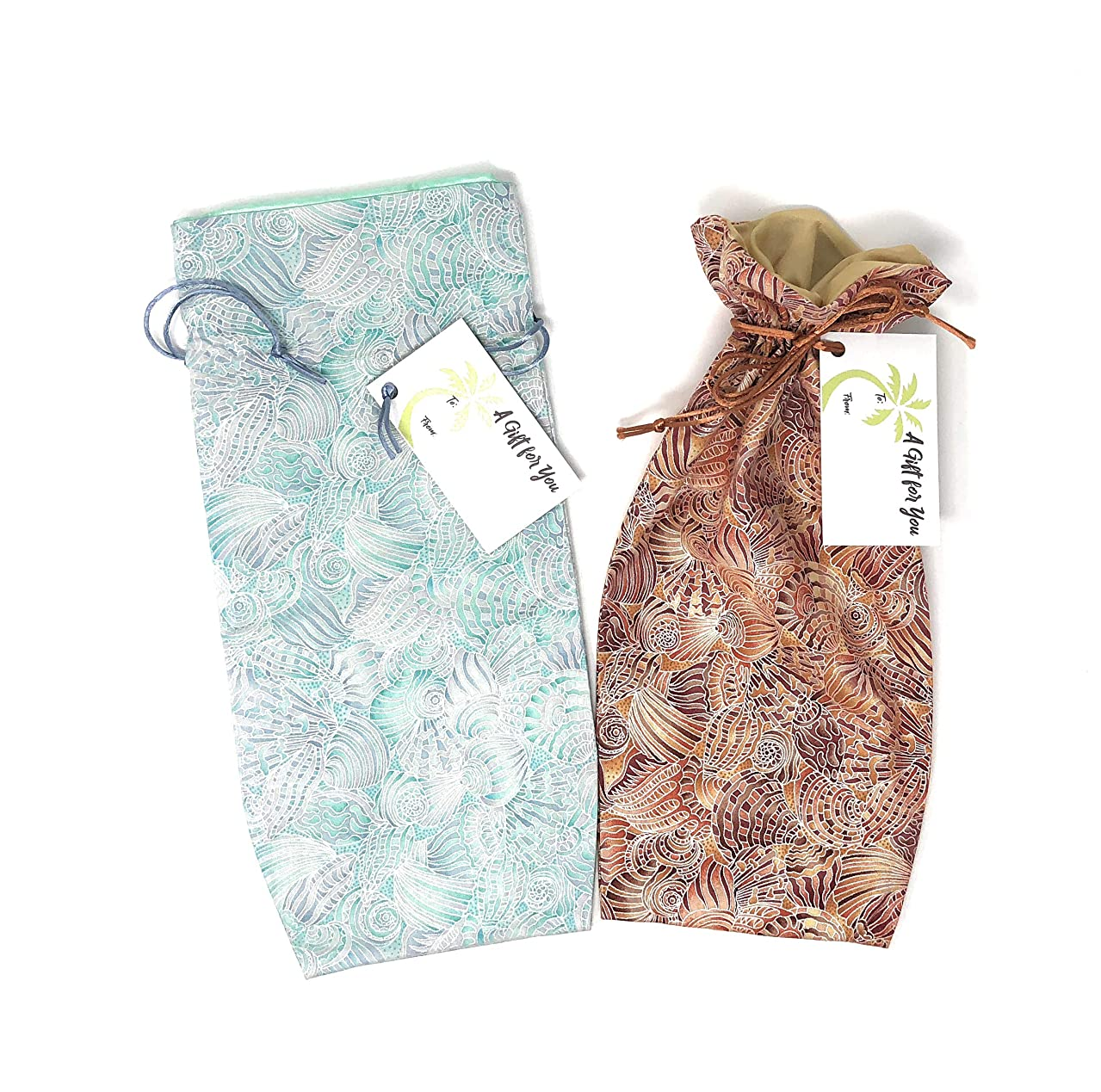 "Shell Fabric Reusable Drawstring Gift Bag | Eco-friendly alternative to paper giftwrap for wine bottle | Weddings & Showers | Cotton Cloth, fully-lined poly Sand/Aqua, 13.25""x6"