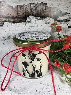 Congratulazioni per Laurea - Vasetto con candela con silhouette e aroma a scelta – ciondolo decorativo a scelta - in cera ...