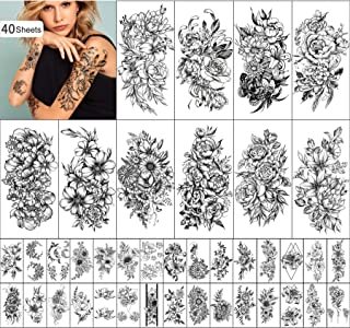 Yazhiji 40 vellen Blijvende Tijdelijke Tattoos Grote Bloemen Collectie Waterdichte Tijdelijke Fake Tattoo Stickers voor Vr...