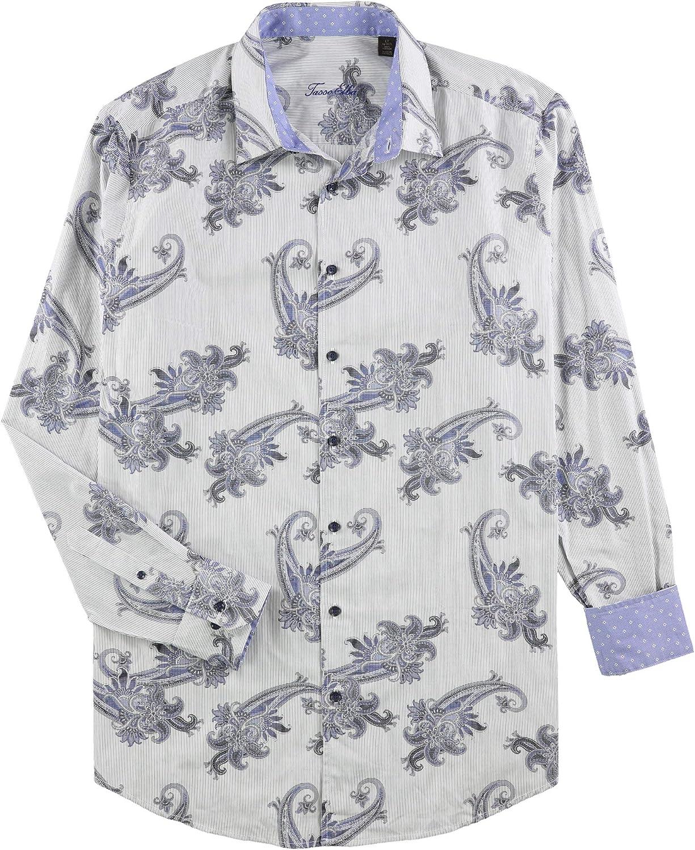Tasso Elba Mens Paisley Ls Button Up Shirt
