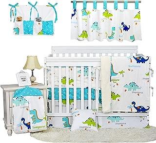 Brandream Navy/White Dinosaur Baby Boys Crib Bedding Sets with Bumper Sets 100% Cotton Nursery Bedding Sets Jungle Theme, 11 Piece Baby Hot Gift