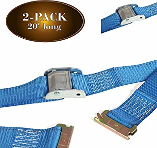 TWO 2 x 20' E Track Cam Straps Durable Cam Buckle Strap Cargo TieDowns Heavy Duty Blue Polyester Tie-Downs ETrack Spring F...