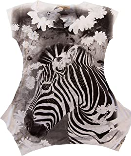 Sweet Gisele Zebra Animal Print Tunic T-Shirt   Bling Embellished Tee for Women