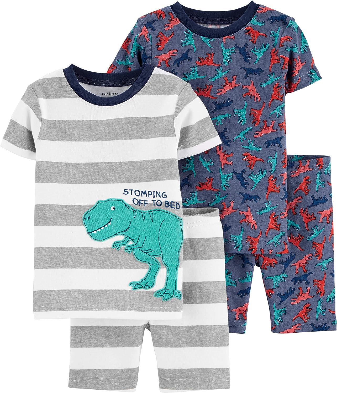 Carter's Boys' 4 Pc Cotton 341g211 (24 Months, Stripes/Dinosaur)