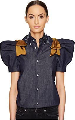 Dark Wash Puff Short Sleeves Denim Shirt
