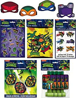 Unique Rise of The Teenage Mutant Ninja Turtle Birthday Party Favors Bundle - Officially Licensed Face Masks, Blowouts, Loot Bags, Stickers, Tattoos & Hanging Swirls