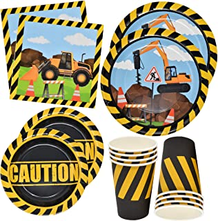 """Construction Themed Birthday Party Supplies Tableware Set 24 9"""" Paper Dinner Plates 24 7"""" Dessert Plate 24 9 Oz. Cups 50 L..."""