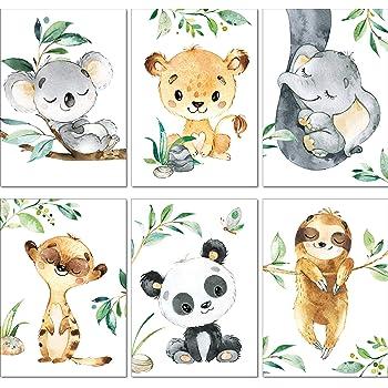 Kinderzimmer Poster 8er Spar Set DIN A4 Safari Zoo, Poster