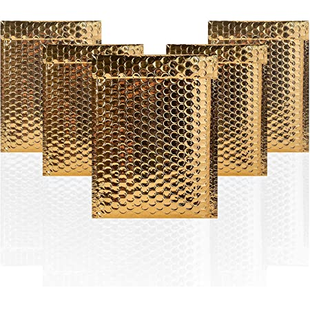 """50 Pack Gold Metallic Padded Bubble Mailers shipping envelopes 7/"""" X 9/"""" inches"""