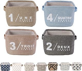 LessMo Set de 4 Mini Paniers de Rangement, Épaissir de Rangement Pratique Tiroir en Tissu Lin Panier Stockage de Bureau Pl...