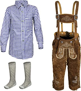 Bavarian Child German Trachten Lederhosen Trousers, Shirt, Socks Girls Boys 2T-14
