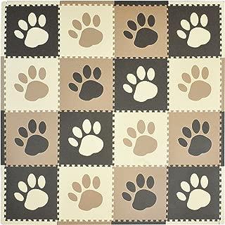 Tadpoles Baby Play Mat, Kid's Puzzle Exercise Play Mat – Soft EVA Foam Interlocking Floor Tiles, Cushioned Children's Play Mat, 16pc, Pawprint, Brown, 50x50