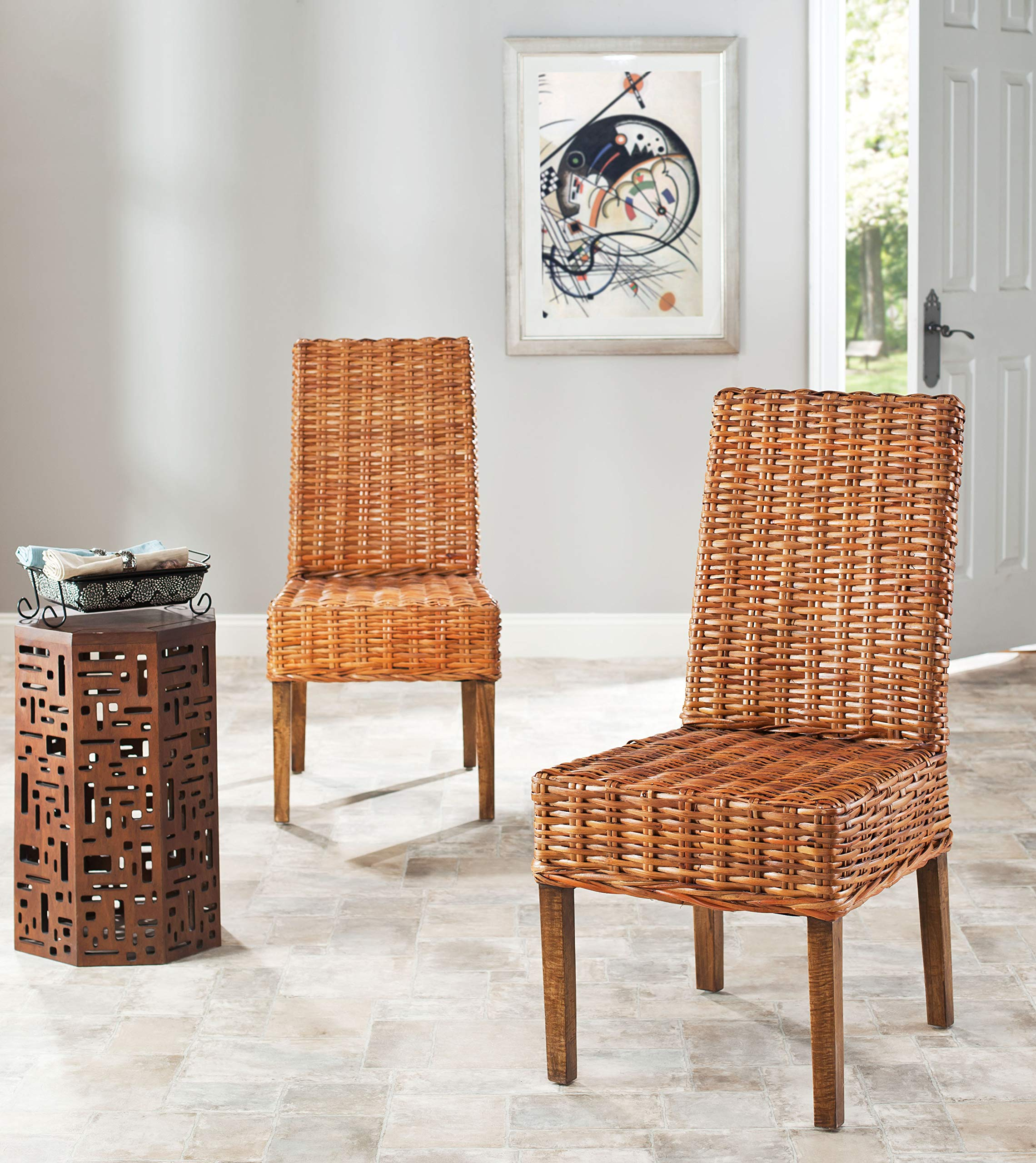 Safavieh Home Collection Aubrey Honey Oak Wicker Side Chair, Set of 2