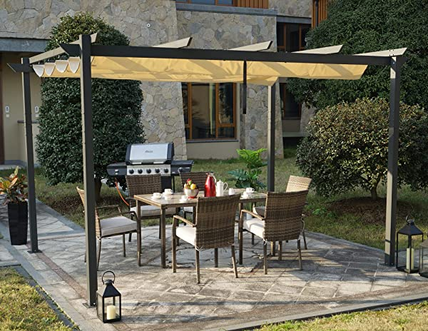 Kozyard Morgan Outdoor 10 X13 Extra Large BBQ Grill Pergola With Sun Shade Gazebo Canopy Beige Canopy UV Resistant Fabric