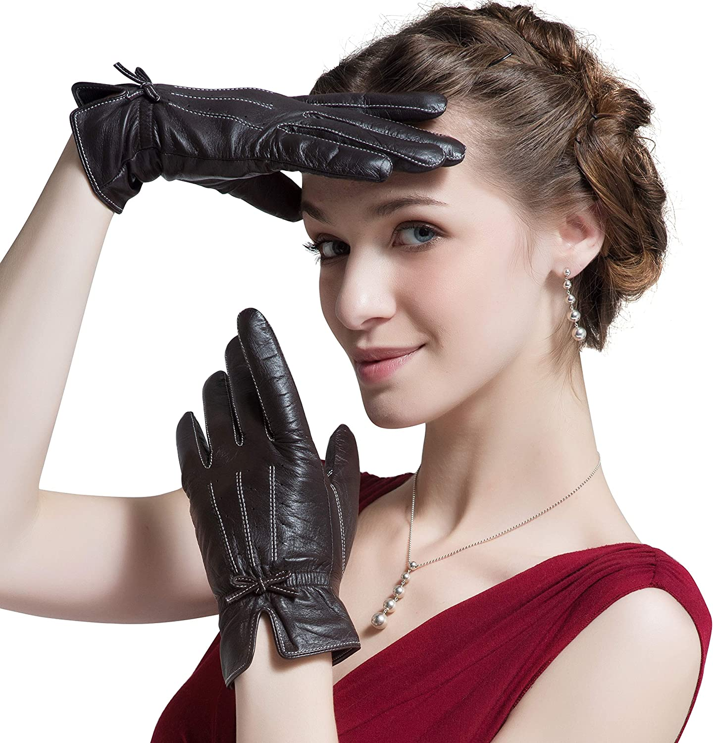 Women's Winter Gloves Lined Thick Leather Gloves with Bow-knot