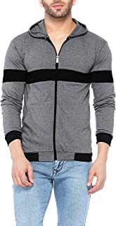 V3Squared Men's Cotton Full Sleeve Zipper Hooded T-Shirt