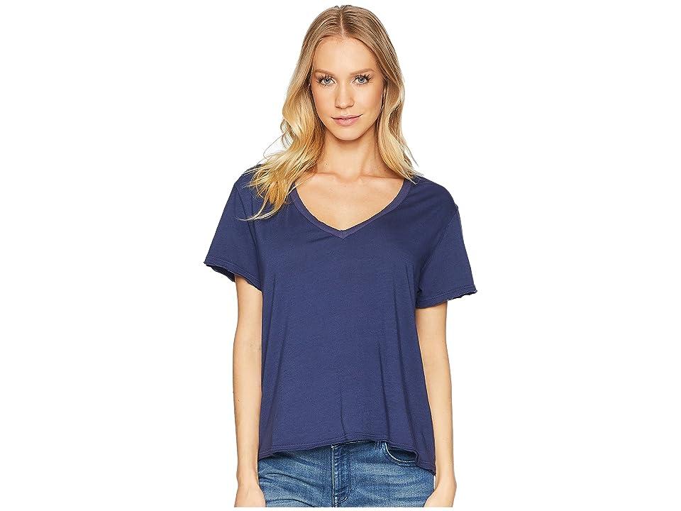 Michael Stars Ultra Jersey Cropped V-Neck Tee (Passport) Women's T Shirt